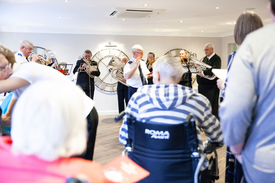 Salvation Army band perform at Cherry Tree House