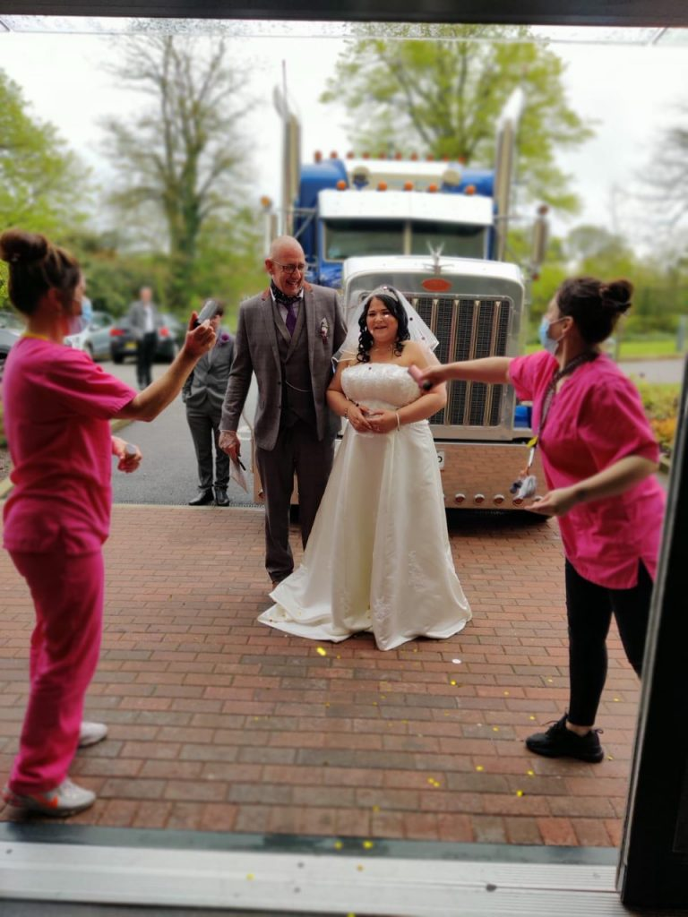 Bride and groom enter Finney House